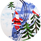 Gibson Home Outdoor Santa Skiing 8 in. Melamine Dessert Plate
