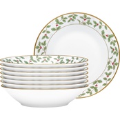 Noritake Holly and Berry Gold Soup Bowl 8 pc. Set 12 oz.
