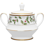 Noritake Holly and Berry Gold 10 oz. Sugar Bowl with Cover