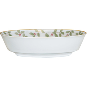 Noritake Holly and Berry Gold 32 oz. Oval Vegetable Bowl