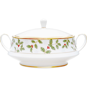 Noritake Holly and Berry Gold 48 oz. Covered Vegetable Bowl