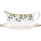 Noritake Holly and Berry Gold Gravy with Tray