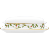 Noritake Holly and Berry Gold Covered Butter Dish