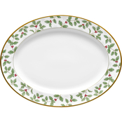 Noritake Holly & Berry Gold Oval Platter Medium 14 in.