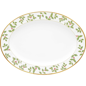 Noritake Holly & Berry Gold Oval Platter Large 16 in.