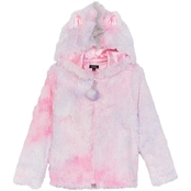 Zunie Girls Tie Dye Fur Jacket with Zipper and Hood