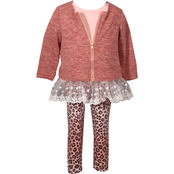 Bonnie Jean Infant Girls Animal Leggings, Tunic and Sweater 3 pc. Set