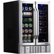 NewAir 24 in. Built-in Dual Zone 18 Bottle and 58 Can Wine and Beverage Cooler