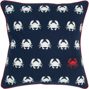 Rizzy Home Cotton Crab Navy Zipper Closure Polyester Filled Pillow, 20 in. x 20 in.