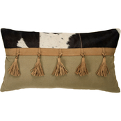 Rizzy Home Hair on Hide Khaki 14 x 26 in. Zipper Closure Polyester Filled Pillow