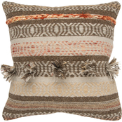 Rizzy Home Stripe Brown 20 in. x 20 in. Zipper Closure Polyester Filled Pillow