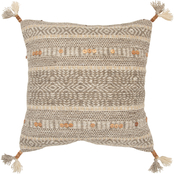 Rizzy Home Stripe Beige Polyester Filled Pillow 20 in. x 20 in.