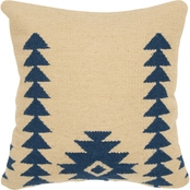 Rizzy Home Motif Navy Polyester Filled Pillow 18 in. x 18 in.
