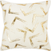 Rizzy Home Abstract Gold Polyester Filled Pillow 20 in. x 20 in.
