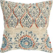 Rizzy Home Medallion Orange Polyester Filled Pillow