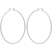Guess Silvertone Classic Textured Hoop Earrings