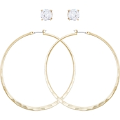 Guess Crystal Stud and Hoop Earring Set