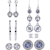 Guess Silvertone 6 Pair Earring Set