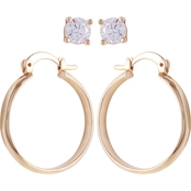 Guess Goldtone Crystal Stud and Hoop Earring Set