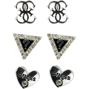 Guess Silvertone Earrings Set of 3