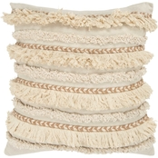 Rizzy Home Stripe Natural Square Decorative Throw Pillow