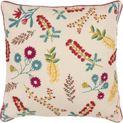 Rizzy Home Floral Natural 20 in. Square Pillow