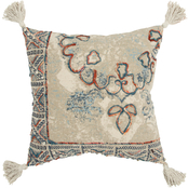 Rizzy Home Medallion Natural 20 in. x 20 in. Zipper Closure Polyester Filled Pillow