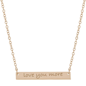Sterling Silver Engraved Love You More Bar Necklace