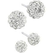 Sterling Silver Crystal 4mm and 6mm Stud Earring Set