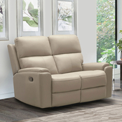 Abbyson Jasper Collection Top Grain Leather Reclining Loveseat