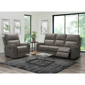 Abbyson Jasper Top Grain Leather Reclining Sofa and Recliner Set