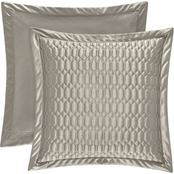 J. Queen New York Satinique Silver Euro Quilted Sham