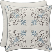 J. Queen New York Giovani White 18 in. Square Embellished Decorative Throw Pillow