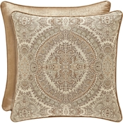 J. Queen New York Sardinia Gold 20 in. Square Decorative Throw Pillow