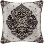 J. Queen New York Vera Silver 20 in. Square Decorative Throw Pillow