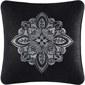 J. Queen New York Guiliana Black 18 in. Square Embellished Decorative Throw Pillow