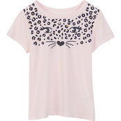 Pony Tails Little Girls Leopard Face Print Graphic Tee