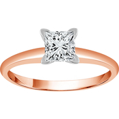 14K Gold 1/2 CTW Princess Diamond Solitaire Ring
