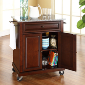 Compact Granite Top Portable Kitchen Island/Cart