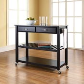 Crosley Granite Top Kitchen Cart with Option Stool Storage