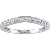 Sofia B. 10K White Gold Diamond Accent Wedding Band with Slight Curve