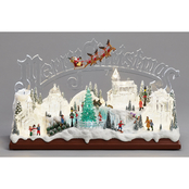 Roman 10 in. LED Merry Christmas Scene of Village