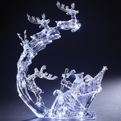 Roman 13 in. LED Santa In Sky with Deer Acrylic Battery Operated Decoration