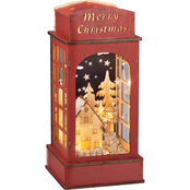 Roman 12 in. LED Red Wood Phone Booth
