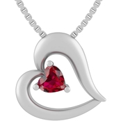 Courageous Hearts Sterling Silver Created Ruby Pendant