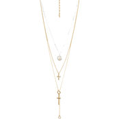 Lucky Brand Cross Inlay Layer Necklace