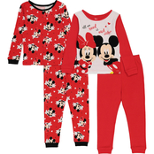 Disney Infant Girls Minnie and Mickey 4 pc. Pajamas Set