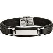 Chisel Stainless Steel Polished Black Leather ID Bracelet