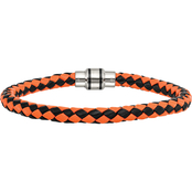 Chisel Stainless Steel Polished Black IP Woven Leather Bracelet