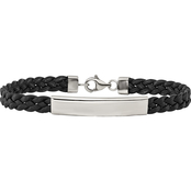Chisel Stainless Steel Polished Leather ID Bracelet